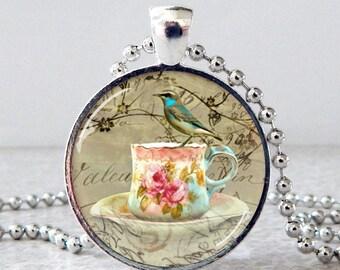 Tea Cup Glass Pendant Necklace, Bird Glass Pendant Necklace, High Tea Party Glass Art Pendant, Tea Party Jewelry, Tea Party Necklace