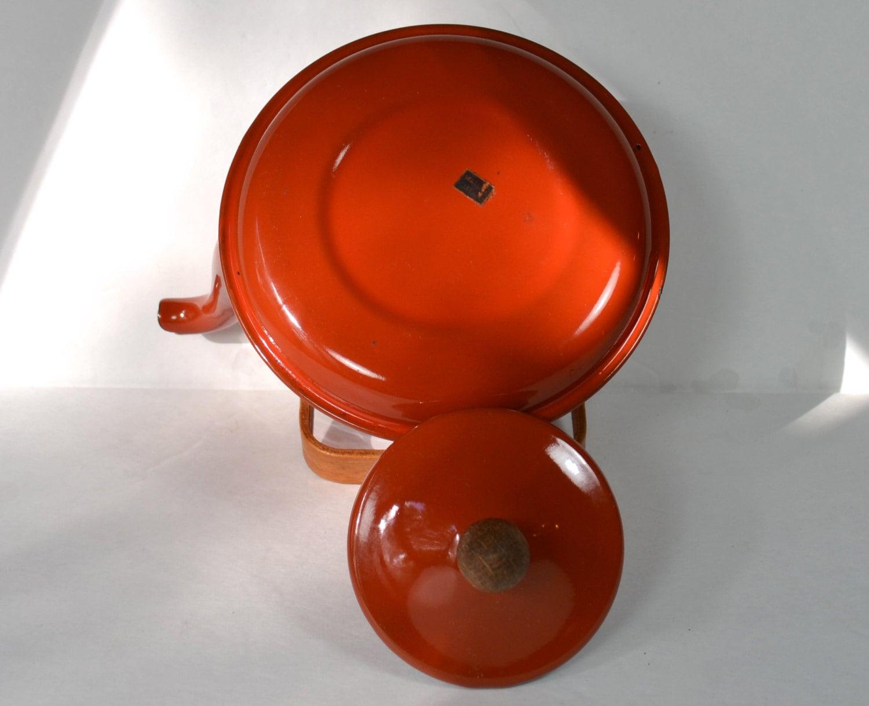 Burnt Orange Enamel Tea Kettle Rust Copper Color Enameled