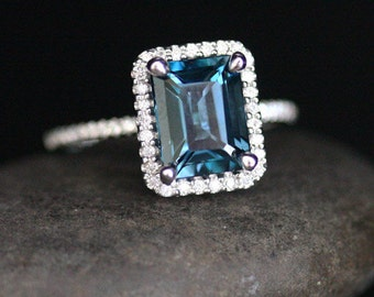 14k White Gold 9x7mm London Blue Topaz Emerald Cut and Diamonds Wedding or Engagement Ring (Choose color and size options at checkout)