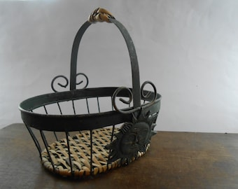 Vintage Basket Metal green Basket With Sun Wire basket Old retro basket with a handle