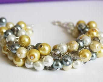 Yellow and Gray Cluster Bracelet, Bridal Jewelry, Bridesmaid Yellow and Gray Bracelet, Bridesmaid Bracelet, Yellow and Gray Pearl Bracelet