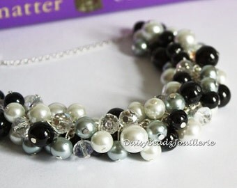 Black, Gray and White Necklace, Pearl Cluster Necklace, Black and Gray Necklace, Bridesmaids Necklace, Pearl Necklace, Chunky Necklace,