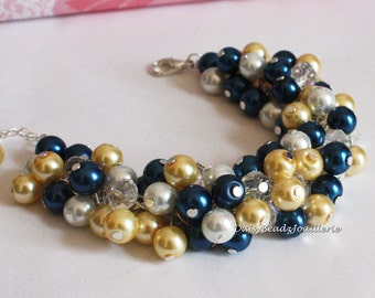 Navy Blue Jewelry, Navy and Light Yellow Cluster Bracelet, Bridesmaid Gift, Navy Bracelet, Yellow Bracelet, Bridesmaids Bracelet, Prom
