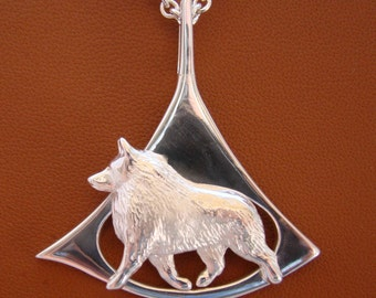 Large Sterling Silver Schipperke Moving Study On A Free Form Triangle Pendant