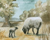for mom for her sheep print sheep art print sheep painting sheep art painting lamb painting ATC watercolor painting sheep traditional SMALL