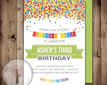 Rainbow Confetti birthday invitation, boys birthday invitation, girls birthday invitation, tween birthday,birthday party invitation