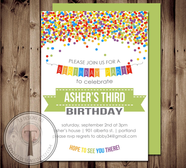 Rainbow Confetti birthday invitation boys birthday invitation