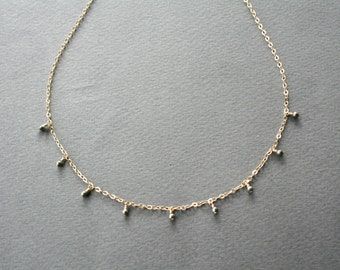 Gold Delicate Pyrite Necklace - Elegant little pyrites on gold filled chain
