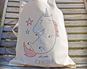 "Tote Bag ""In Unicorn we trust"" PINK"