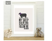 Sheep wall art  Bible verse Print, Scripture Art Print in a Frame - John 10: 27, Christian Wall art- Home Decor by Petra's Wonders