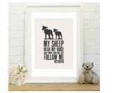 Custom Kids Sheep Print in a frame - kids wall art  Bible scripture verse: My sheep hear my voice, John 10 27