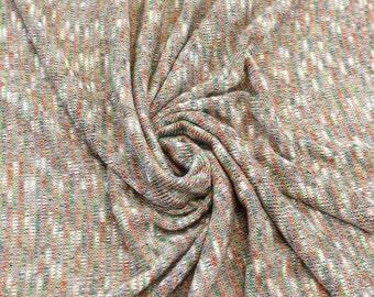 Orange Green White Fiesta Sweater Knit Fabric - 1 Yard Style 6265