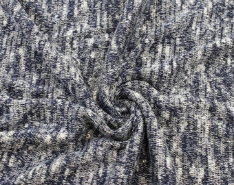 Navy Blue Two Tone Cuddle Sweater Knit Fabric - 1 Yard Style 6324