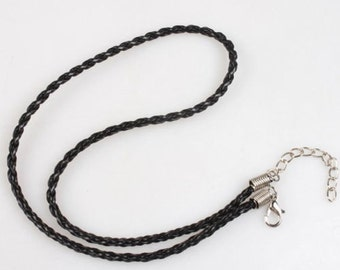 Fashion Black Braided Rope Necklace 16-18 inches long (Adjustable)