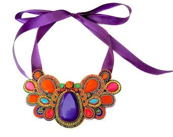 XOCHIQUETZAL soutache multicolour necklace (free shipping)