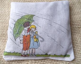 Lavender sachet, vintage children with umbrella