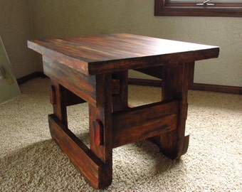 Charming Hand Painted, Rustic, Distressed End Table
