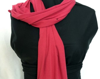 Bamboo and organic cotton scarf-wrap-Raspberry