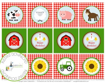 "PRINTABLE: Farm Animal Cupcake Toppers, 2"" Party Circle, Barnyard Cupcake Topper"