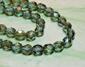 25 Green Celsian 6mm transparent round faceted Czech glass fire polish beads