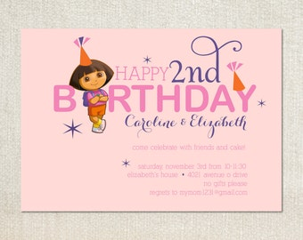Dora birthday party invitations