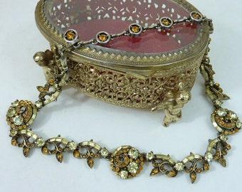 VINTAGE HOLLYCRAFT GOLD  Rhinestone choker elegant necklace