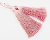 Long Dusty Rose Pink Silk Thread Tassels Earring Bracelet Necklace Tassel Jewelry Fringe Turkish Findings -  3 inches - 77mm  - 2 pc