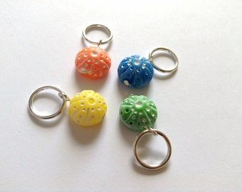 Sea urchin knitting stitch markers for snagless  knitting, knit stitch markers, polymer clay stitchmarkers - UK seller