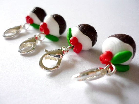 ... crochet stitch markers made from polymer clay (set of 4) - UK seller
