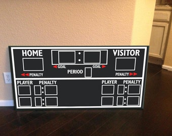 Scoreboard, hockey scoreboard, hockey decor, hockey wall art, kids hockey decor