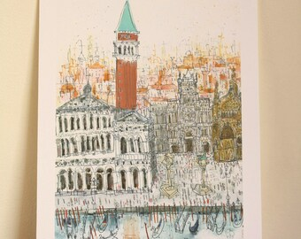 CAMPANILE VENICE ITALY Print, Signed Giclée Print, Watercolor Painting, Clare Caulfield, Venice Wall Art, Piazza San Marco, St Marks Drawing
