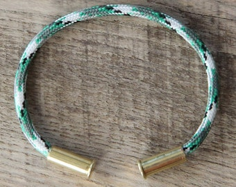 Kermit Camo Bullet Casing Bracelet recycled .22lr casings electric green black gray white paracord wire BRZN
