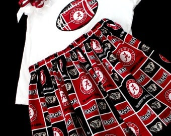 Alabama girl's 3pc Tee Top, Skirt, and Hair Clip Set