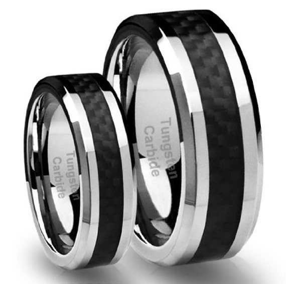 Top Quality TUNGSTEN Carbide Wedding Band Ring Set with Black Carbon