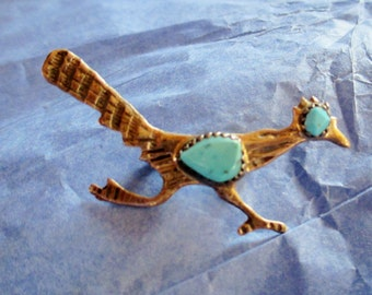 NAVAJO ROADRUNNER Pin Sterling Turquoise Old