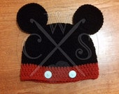 Mickey Mouse Inspired Crochet Boys or Girls Beanie Hat with Ears
