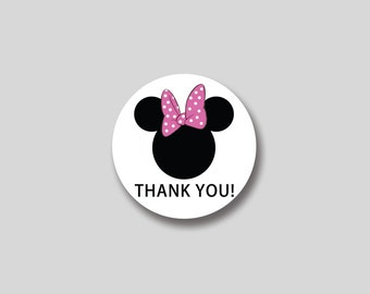 INSTANT DOWNLOAD Minnie Mouse favor tag, cupcake topper, sticker -  DIY Printable