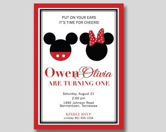 Mickey & Minnie Mouse Birthday Invitation - Custom Printable