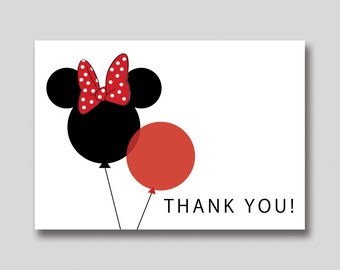 INSTANT DOWNLOAD Minnie Mouse Balloons Thank You Card -  DIY Printable