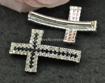 5pcs 23x38mm Silver Plated Black Rhinestone Sideways Cross Charms Connectors - Cross Charms with Curved Tubes