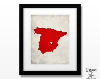 Spain Map Print - Home Town Love - Personalized Art Print Available in Different Sizes & Colors