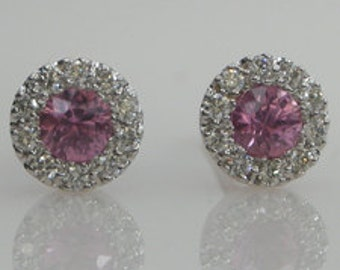 Diamond  Halo Border Pink Sapphire Stud Earrings 18k White Gold Very Petite Style