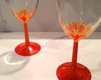 Sunrise Flower Wine Glasses