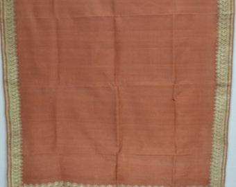SALE! Light Weight Indian Art Silk Zari Borders Brown Plain Saree Vintage Sari  TP912