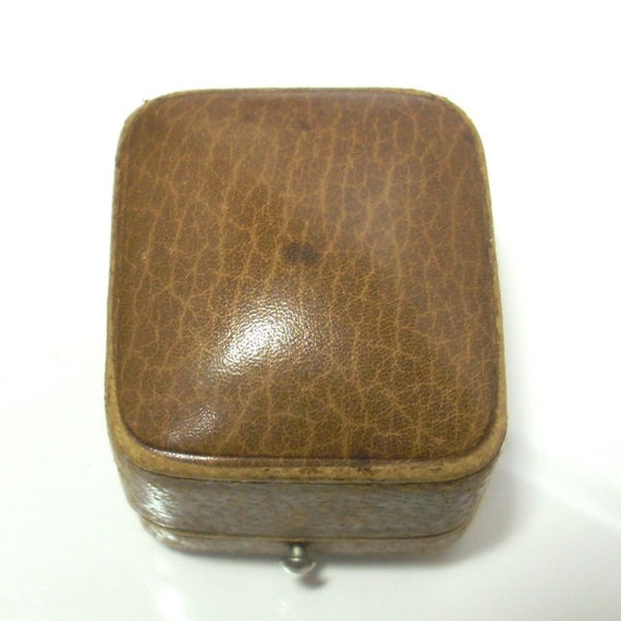 antique engagement ring box tan leather cream by