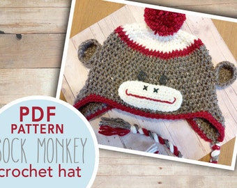 Sock Monkey Hat Crochet Pattern PDF | Sock Monkey Hat Pattern Crochet PDF | Sock Monkey Crochet Pattern |