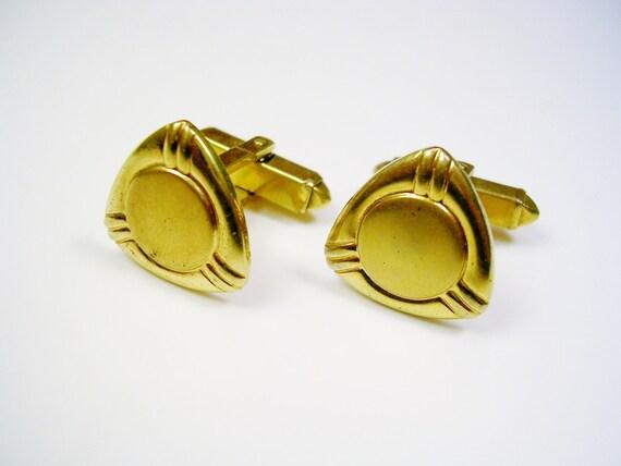 vintage anson cufflinks gold tone triangle design