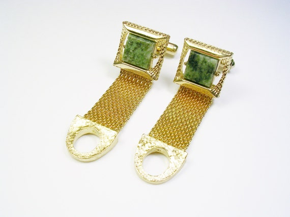 Vintage jade swank cufflinks gold tone mesh wrap men 39 s for What is swank jewelry