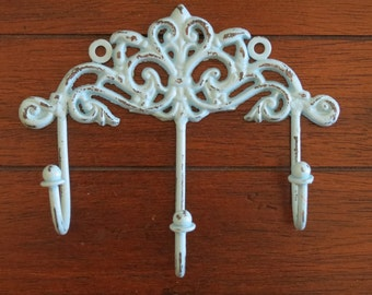 Shabby Chic Wall Hook / Cottage Chic Hanger / Key Hat Jewelry Hook Rack / Metal Towel Hook / Aqua Blue or Pick Color / Shabby Chic Decor