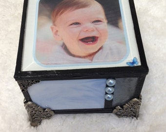 Baby boy customized stained glass memory keepsake shabby chic cottage chic childs gift box